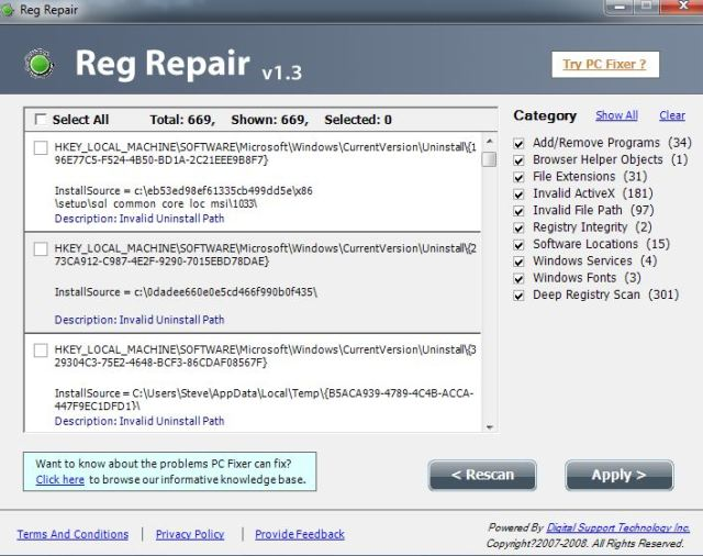 Reg Repair Results
