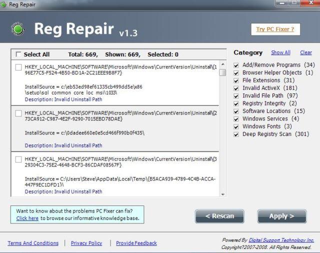 Reg Repair Results