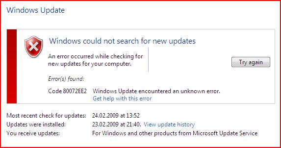 Image result for Windows Update error 80072EE2