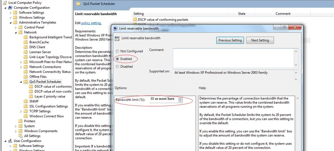 Increase QoS priority in Windows 7 | TCAT Shelbyville