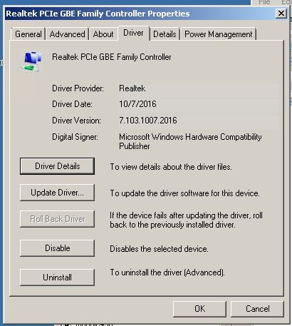 realtek pcie gbe family controller windows 2003 server